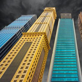 Close-up  van  diverse  naast elkaar staande wolkenkrabbers uit Dubai van Rita Phessas