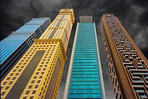 Close-up  van  diverse  naast elkaar staande wolkenkrabbers uit Dubai von