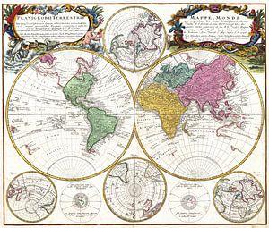 Prachtige retro wereldkaart van Emma Kersbergen