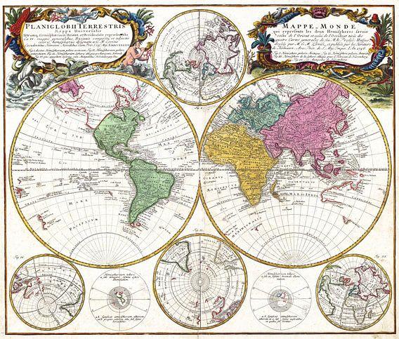 Prachtige retro wereldkaart