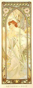 Tijden van de Dag: Avond Overdenking - Art Nouveau Schilderij Mucha Jugendstil van