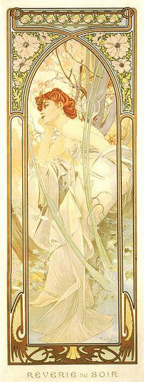 Tijden van de Dag: Avond Overdenking - Art Nouveau Schilderij Mucha Jugendstil van Alphonse Mucha