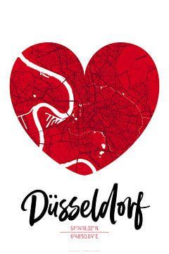 Düsseldorf – City Map Design Stadtplan Karte (Herz) von ViaMapia