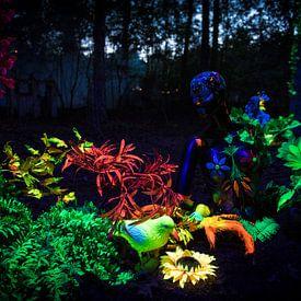 Blacklight kunstwerk tijdens Mandala Festival van Chris Heijmans