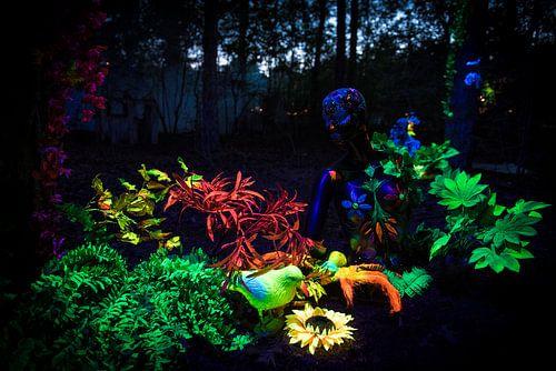 Blacklight kunstwerk tijdens Mandala Festival