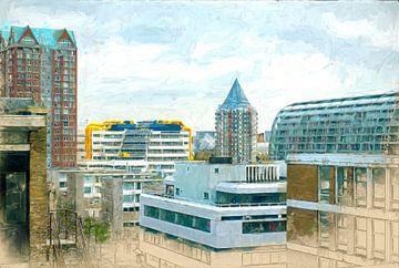 Geschilderde Rotterdamse daken II van Arjen Roos