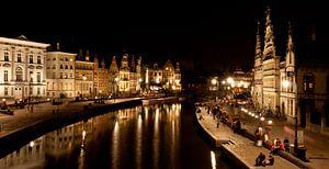 Gent - Graslei (Nachtopname) van Patrick Siemons