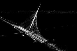 Luchtfoto van de Calatrava brug, de Harp, in Nieuw-Vennep van Michel Sjollema