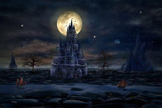 Volle maan op het kasteel