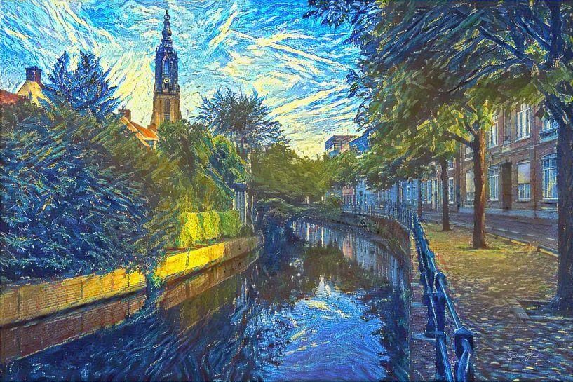 Vrolijk kunstwerk Amersfoort: Zuidsingel in de Stijl van Van Gogh van Slimme Kunst.nl