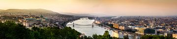 Panorama foto van de stad Boedapest met de rivier de Donau. van Björn Jeurgens