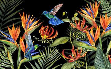 Tropische bloemen hummingbirds van Geertje Burgers