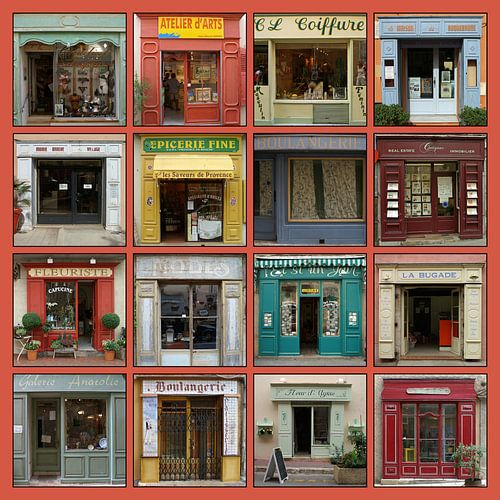 Collage van authentieke Franse etalages. van