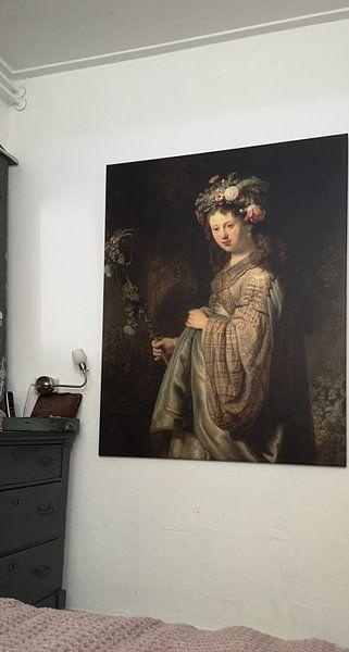 Klantfoto: Saskia als Flora, Rembrandt van Rembrandt van Rijn, op canvas