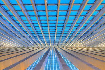 Liege-Guillemins abstract perspectief in het blauwe uur van Dennis van de Water