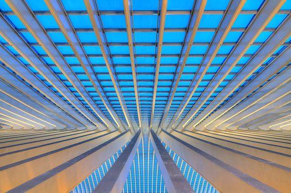 Liege-Guillemins abstract perspectief in het blauwe uur
