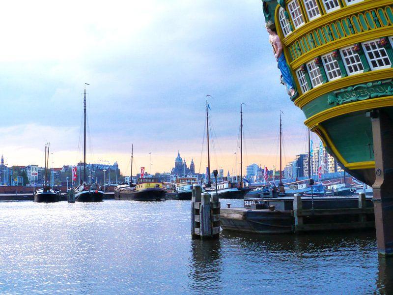 Zicht op Oosterdok Amsterdam