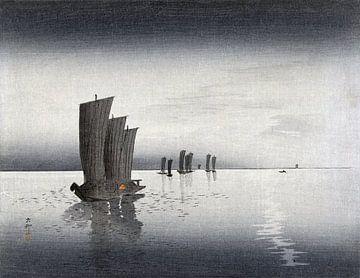 Fischerboote in der Abenddämmerung, Ohara Koson (1900-1920)