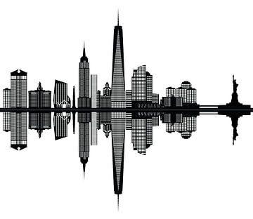 new york skyline van de stad met vrijheidsbeeld en empire state building