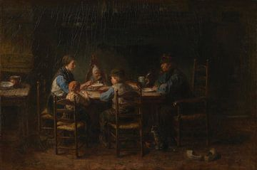 Bauernfamilie beim Essen, Jozef Israëls von Meesterlijcke Meesters