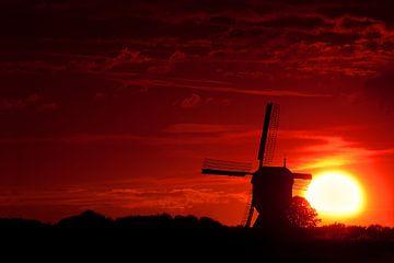 Mühle bei einer untergehenden Sonne von Halma Fotografie