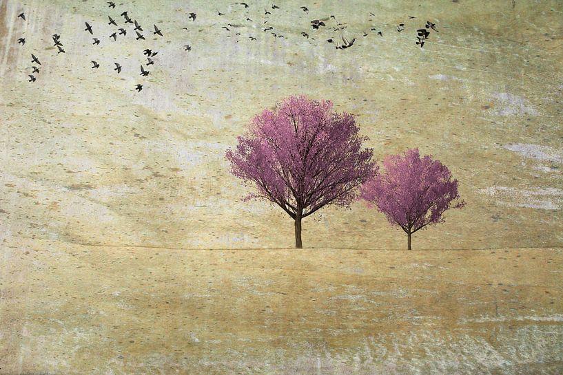 Twee kersenbomen met vogels van Rietje Bulthuis