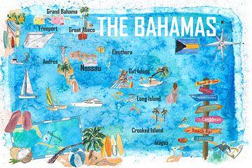 Bahama's geïllustreerde reiskaart met hoogtepunten van Markus Bleichner