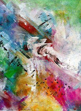 """Abstract """" kleuren van lente 1 """" van Claudia Gründler"""