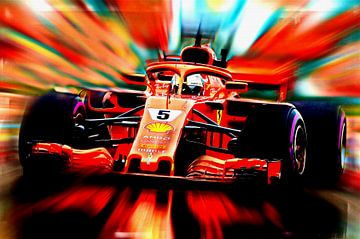 Sebastian Vettel #5 Seizoen 2018 van Jean-Louis Glineur alias DeVerviers