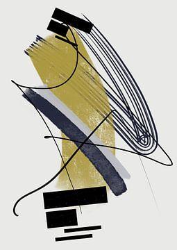 Abstract schilderij met inkt en verfstrepen 5 van Romee Heuitink