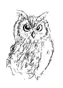 Abbildung von aus als Federzeichnung mit schwarzer Tinte. Zeichnung auf weißem Hintergrund. von Emiel de Lange