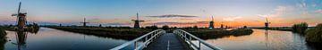 Panorama Kinderdijk met elf windmolens van Daan Kloeg