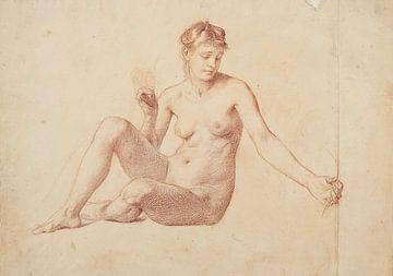 Studietekening van een naakte vrouw, 19e eeuw van Atelier Liesjes