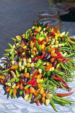 Paprika's op een markt in Mallorca van t.ART