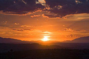 Zonsondergang, San Miniato, Toscane. van Rens Kromhout