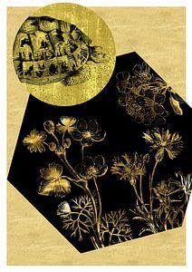 Schildkröte und Blumen auf Gold