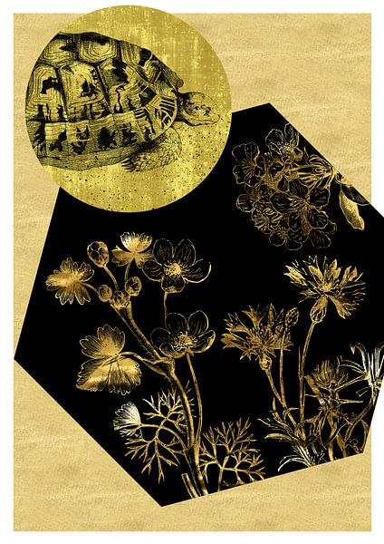 Schildkröte und Blumen auf Gold von Jadzia Klimkiewicz