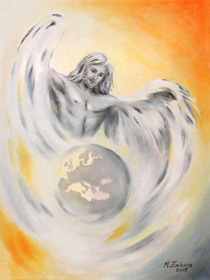 Guardian Angels of the Earth - handbeschilderd Angel Art