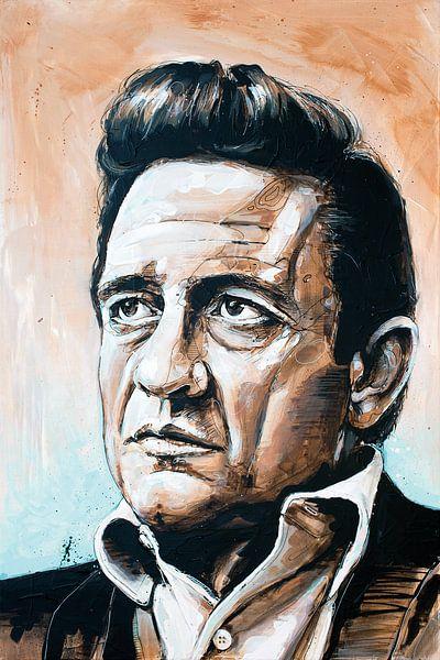 Johnny Cash schilderij van Jos Hoppenbrouwers