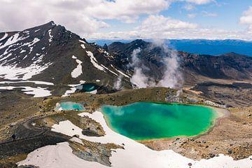 Blick auf die Emerald Lakes im Tongariro National Park, Neuseeland von Linda Schouw