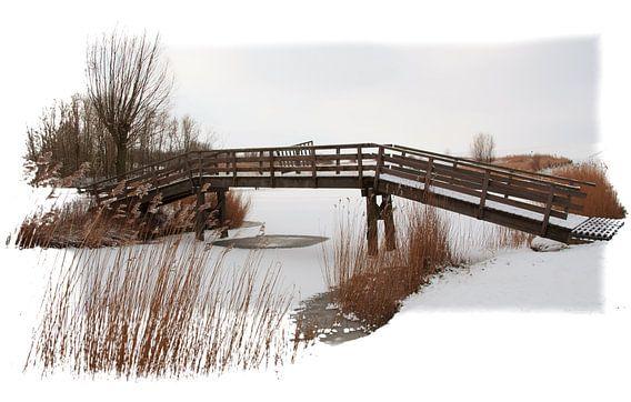 Small bridge in winter van Pim Feijen