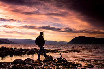 Vissen tijdens zonsondergang in het Sunndalsfjord, Noorwegen van