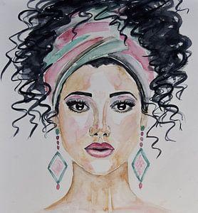 Aquarel vrouw met haarband roze groen van Bianca ter Riet