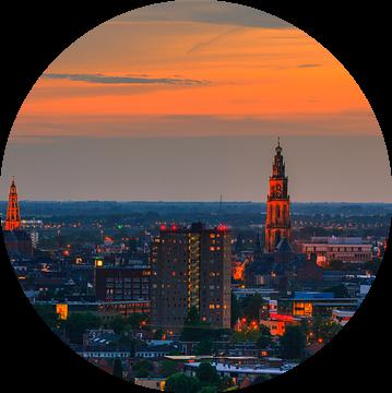 Panorama van de stad Groningen van Henk Meijer Photography