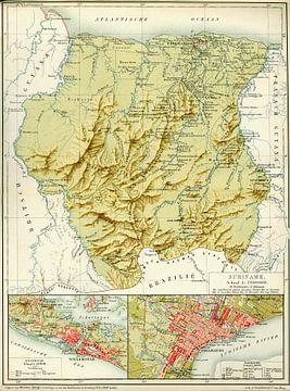 Suriname, kaart van 1914-1917 van Atelier Liesjes