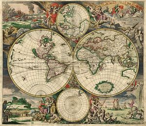 World map - Produced in Amsterdam, 1689