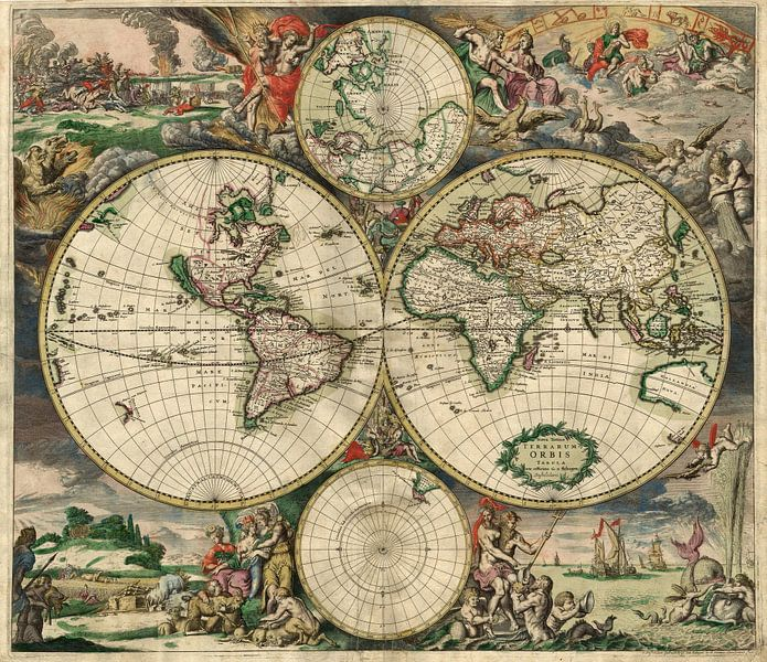 World map - Produced in Amsterdam, 1689 van Meesterlijcke Meesters