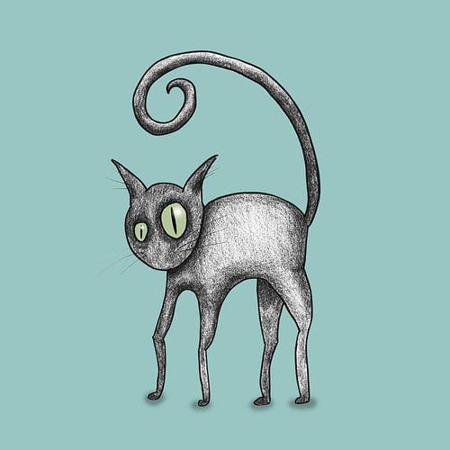 Zwarte komische kat van Bianca Wisseloo