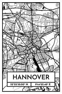 Hannover – City Map Design Stadtplan Karte (Retro)
