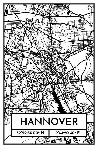 Hannover – City Map Design Stadtplan Karte (Retro) von ViaMapia